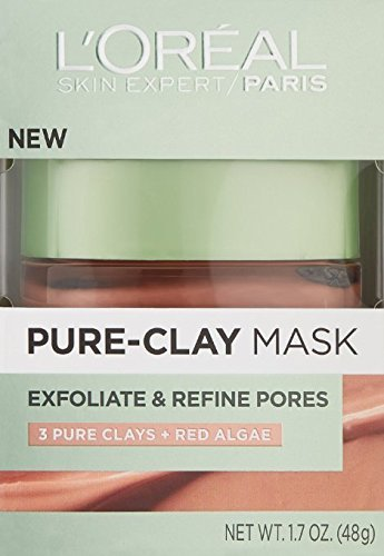L'Oreal Skin Expert Exfoliate and Refine Pores Pure Clay Mask, 1.7 Oz (Pack of 2)