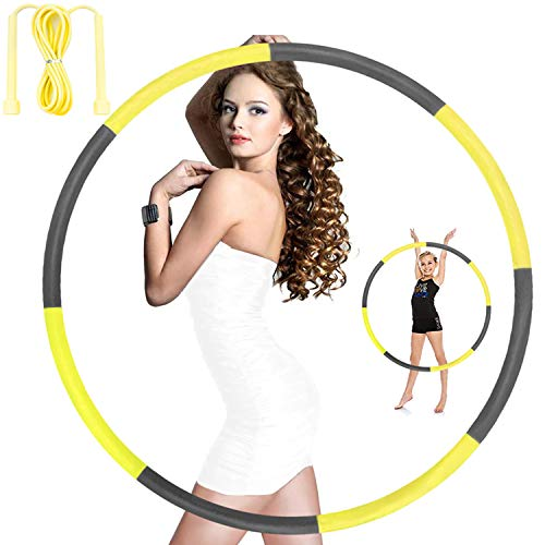 Hoola Hoops for Adults Weight Loss - Weighted Hoola Hoop,Jump Rope Weighted Exercise Hoola Hoops for Kids,Hoola Hoops Bulk,Professional Soft Fitness Hoola Hoops Skipping Rope - Detachable (Yellow)