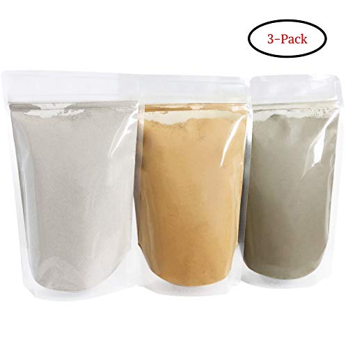 Bentonite (Indian Healing), Moroccan (Red Rhassoul), and Green (French-Sea) Clay Powder - 3 Multipak/Set 8 oz Each - for Making Mud Masks for Skin, Hair, Face and Body by Bare Essentials Living