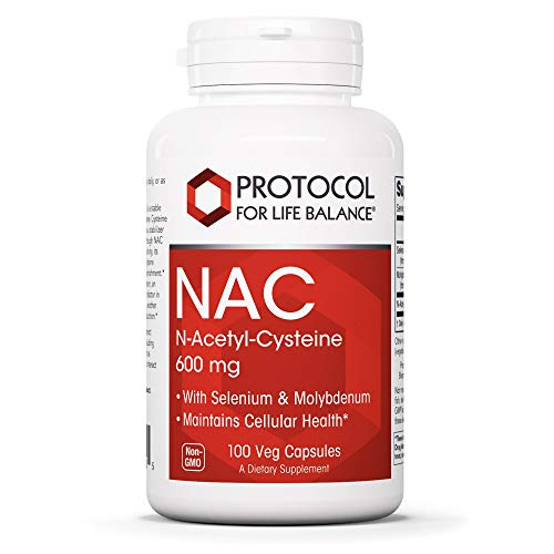 Protocol For Life Balance - NAC (N-Acetyl Cysteine) 600 mg - Glutathione Precursor That Maintains Cellular Health, Supports Liver and Lung Function and Immune System Function - 100 Veg Capsules