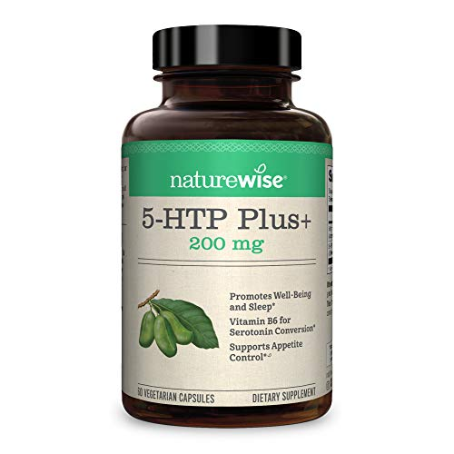 NatureWise 5-HTP Max Potency 200mg   Mood Support, Natural Sleep Aid & Helps Curb Appetite   Delayed Release Capsules Easy on The Stomach   Enhanced w/ Vitamin B6   Non-GMO [2 Month Supply - 60 Count]