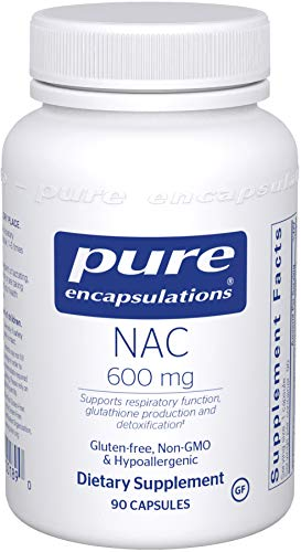 Pure Encapsulations - NAC 600 mg - Amino Acids to Support Respiratory Function, Glutathione Production, and Detoxification - 90 Capsules