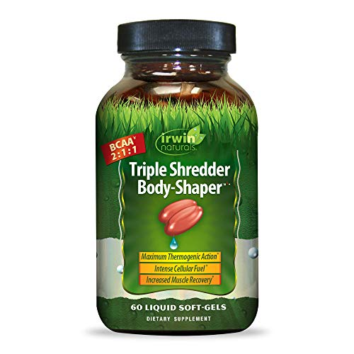 Irwin Naturals Triple Shredder Body Shaper BCAA 2:1:1 Targets Stubborn Fat - Maximum Energy Production & Post Work-Out Muscle Recovery with Guarana, MCT Oil, EPA & DHA - 60 Liquid Softgels
