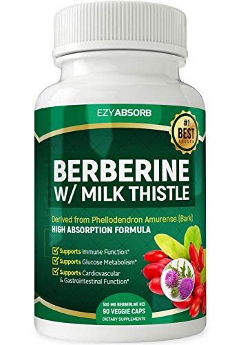 EzyAbsorb Gluten-Free Berberine with Milk Thistle 500mg, 90 Veggie Capsules for Blood Sugar Support/w LA-3 AMPK Metabolic Activator