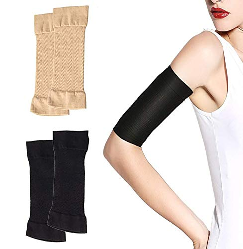 2 Pairs Arm Slimming Shaper Arm Compression Wrap Sleeve for Women Weight Loss Upper Arm Shaper Helps Lose Arm Fat Toneup Arm Shaping Sleeves for Beauty Women (Black+Beige)