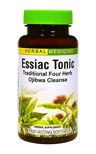 Essiac Tonic - Whole Body Detoxification Eliminates Cellular Wastes - Liver and Blood Cleanser - No Refrigeration No Brewing - 4 Original Herbal Ingredients (Burdock + Sheep Sorrel + Slippery Elm + Turkey Rhubarb) - 60 Softgels - Herbs Etc