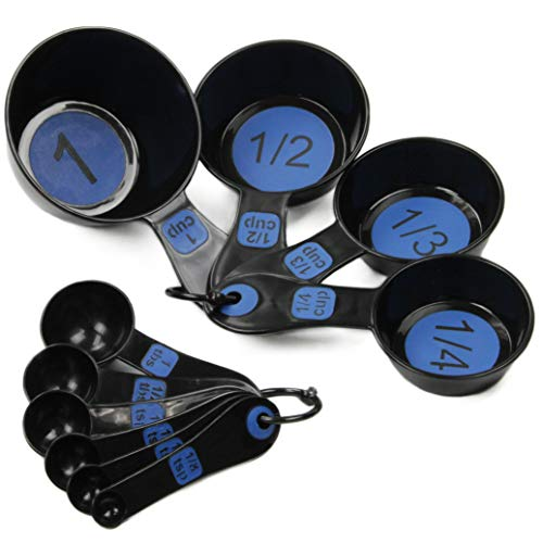 Chef Craft 42018 Easy to Read Plastic 10 Piece Blue/Black Measuring Cup and Spoon Set