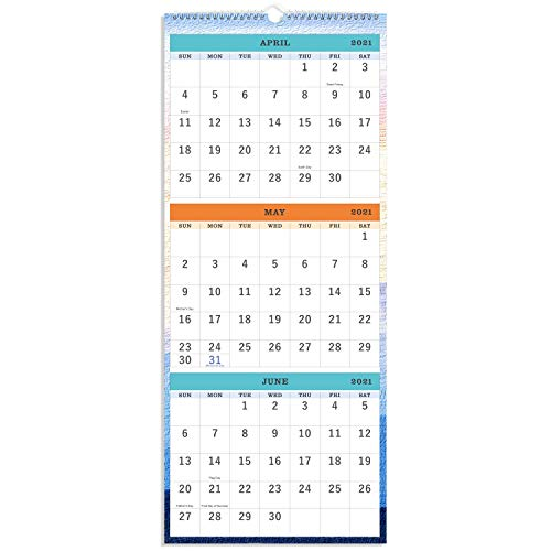 2020-2021 Wall Calendar - 3-Month Display Vertical Calendar, Calendar Planner 2020-2021, 11' x 26', Large, Lay- Flat, March 2020 - June 2021, Perfect for Your Busy Schedule