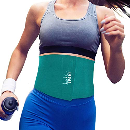 Nicole Miller Waist Trainer for Women 10' Sweat Belt Waist Trimmer Stomach Slimming Body Weight Shaper Wraps Exercise Equipment Adjustable Belt - Teal