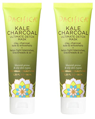 Pacifica Kale Charcoal Ultimate Detox Mask (Pack of 2) with Aloe Barbadensis Leaf Juice, Ginger Root Extract, Kale Extract and Pineapple Juice, 2.25 fl. oz.