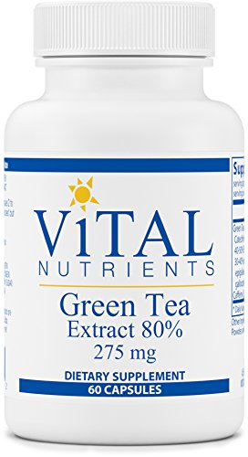 Vital Nutrients - Green Tea Extract - Potent Antioxidant and Immune Enhancer - 275 mg - 60 Vegetarian Capsules per Bottle