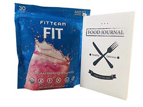 FitTeam Fit Weight Loss Fit Sticks Energy Drink - Organic, Gluten Free, Dairy Free, Vegan, Non GMO - 30 Sticks of Powder - Includes a 30 Day Physical Food Journal to Help Organize Your Diet
