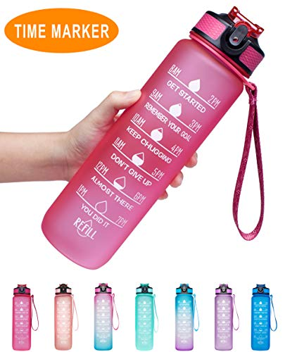 Venture Pal 32oz Leakproof Tritran BPA Free Water Bottle with Motivational Time Marker & Straw to Ensure You Drink Enough Water Throughout The Day for Fitness,Gym and Outdoor Sports-Pink