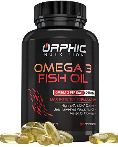 Omega 3 Fish Oil Supplements Max Potency Burpless Lemon Flavored Capsules 3600mg - Essential Fatty Acids Supplement for Heart, Joint Health - 90 Softgels