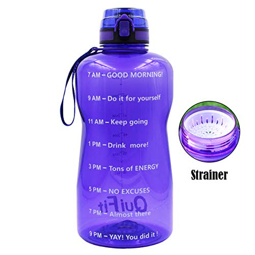 BuildLife Half Gallon Water Bottle with with Strainer & Time Marker/BPA Free/Tracker Helps You Drink More Daily/Leakproof Spout Lid for Running, Gym and Sports Outdoors(Light Purple, 64OZ)