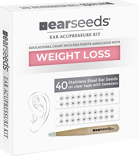 Ear Seeds: Weight Loss Stainless Steel EarSeeds Kit – 40 Pieces – Long-Lasting Clear Adhesive Tape – Precision Tweezers – Complete Instructions for Weight Loss Ear Acupressure – In Place for 2-4 Days