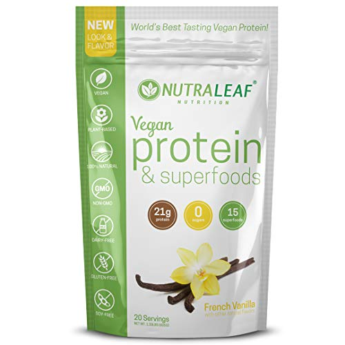 NutraLeaf Plant-Based Vegan Protein Powder & Superfoods – Non-GMO, Gluten-Free, Dairy-Free, Soy-Free – French Vanilla Shake (20 Servings, 1.33 lbs)