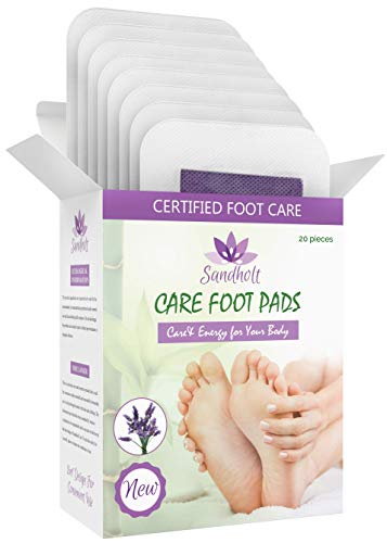 Sandholt Care Foot Pads with Lavender - Improved Energy - Natural Sleep Aid - Foot Pain Relief - 20 Foot Pads - 2 in 1 Design + eBook