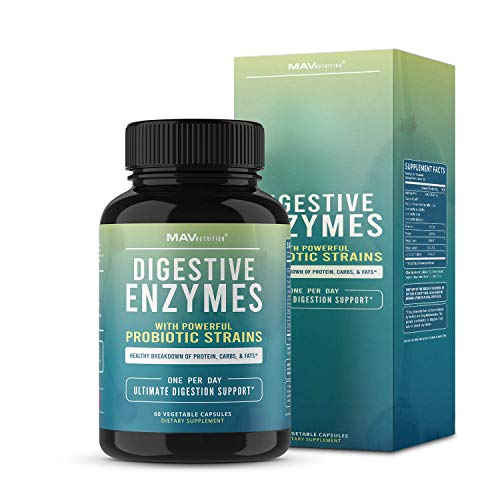 MAV Nutrition Digestive Enzymes & Probiotics, Digestion Aid with 3 Strains, Shelf Stable, 60 Count