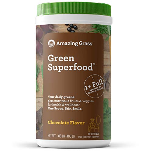 Amazing Grass Green Superfood: Super Greens Powder with Spirulina, Chlorella, Digestive Enzymes & Probiotics, Chocolate, 60 Servings