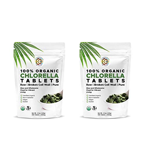 Premium High Potency Chlorella Tablets | Organic | 100 Servings | Pure Clean Raw | Ideal Mercury Detox | Cracked Cell Wall | High in Protein | No Additives or Fillers- 400 Tablets (2 Pack)