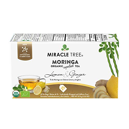 Miracle Tree - Organic Moringa Superfood Tea, 25 Individually Sealed Tea Bags, Lemon & Ginger