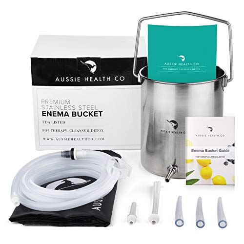 Aussie Health Co Enema Kit - Non-Toxic Stainless Steel 2 Quart Bucket - Ideal for Home Coffee or Water Colon Cleansing Detox Enemas - Includes Nozzle Tips, Guide Book, and Discrete Storage Bag