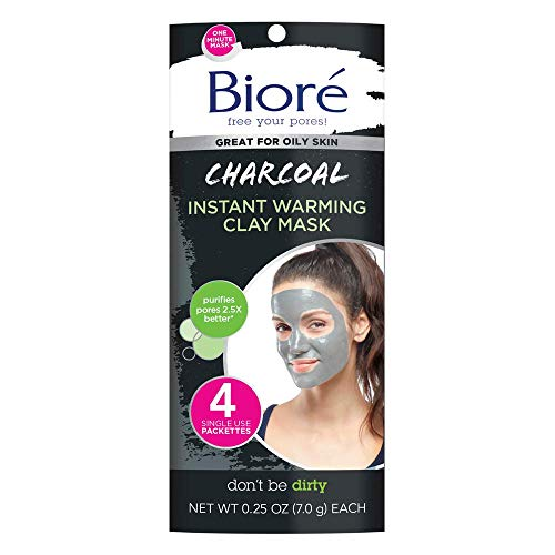 Bioré Charcoal Instantly Warming Clay Facial Mask for Oily Skin, 4 Count, with Natural Charcoal to Cleanse Clogged Pores, Dermatologist Tested, Non-Comedogenic, Oil Free