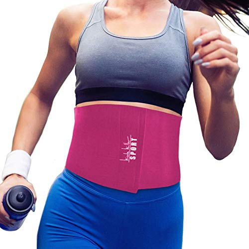 Nicole Miller Waist Trainer for Women 10' Sweat Belt Waist Trimmer Stomach Wraps for Weight Loss Exercise Equipment Adjustable Belt - Pink
