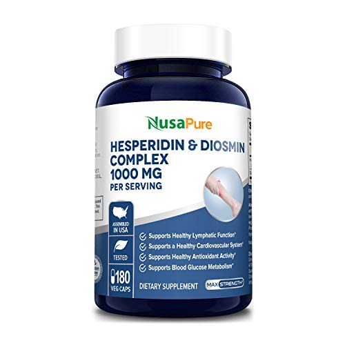 Diosmin - Hesperidin 1000mg 180 Vegetarian Caps (Non-GMO, Gluten Free) Helps Promote Lymphatic Drainage, Supports Veins, Capillaries and Circulation