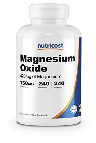 Nutricost Magnesium Oxide 750mg, 240 Capsules - 420mg of Magnesium, Non-GMO, Gluten Free