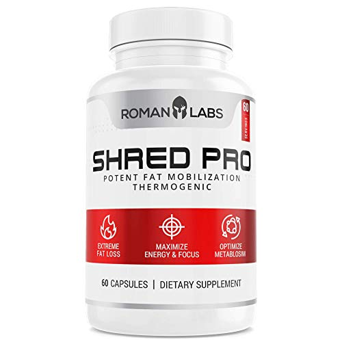 Shred PRO Thermogenic Shred Blend - Premium Fat Burner, Weight Loss and Appetite Suppressant with Green Tea, L-Theanine, Maca, More - Nootropic Energy Booster Diet Pill Supplements - 60 Capsules