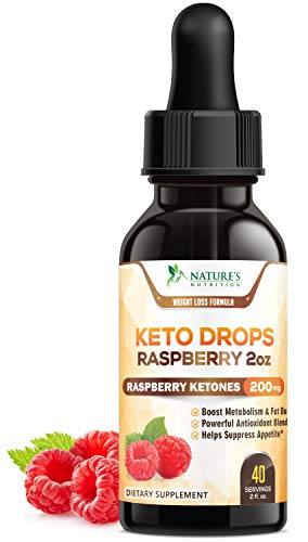 Keto Ketone Drops Extra Strength Raspberry Ketones - Thermogenic Weight Support w/African Mango & Garcinia - Supports Natural Weight, Ketosis Diet Supplement, Metabolism Support - 2 oz Bottle