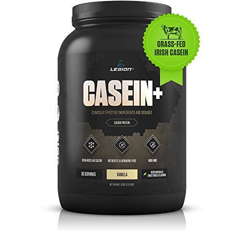 Legion Casein+ Vanilla Pure Micellar Casein Protein Powder - Non-GMO Grass Fed Cow Milk, Natural Flavors & Stevia, Low Carb, Keto Friendly - Best Pre Sleep (PM) Slow Release Muscle Recovery Drink 2lb