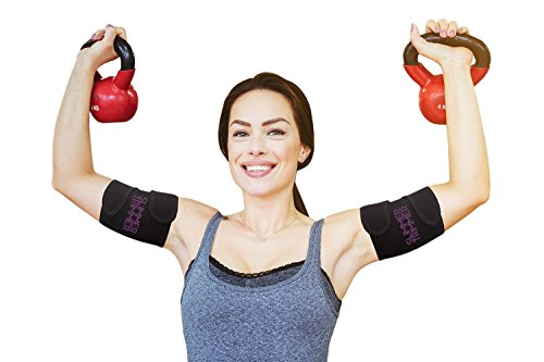 Slimmer Trimmer Premium Arm Trimmers - Pair of Weight Loss Sweat Arm Trainers for Women + Men Thermal Arm Slimming Wraps. Arms Fat Burner Trainer Bands, Exercise Enhancer Sweating S-M (up to 16')