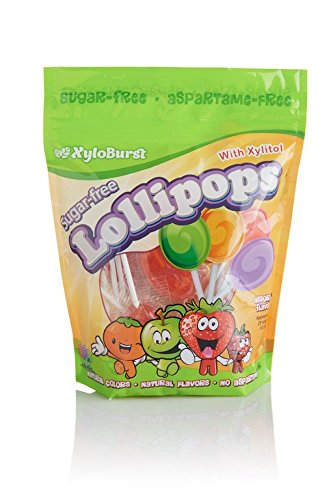 Xyloburst Sugar-Free Xylitol Candy Lollipops Suckers Made With Natural Flavors and Natural Colors, Good For Your Teeth, Dentist Recommended - Made in the USA (25 Count)