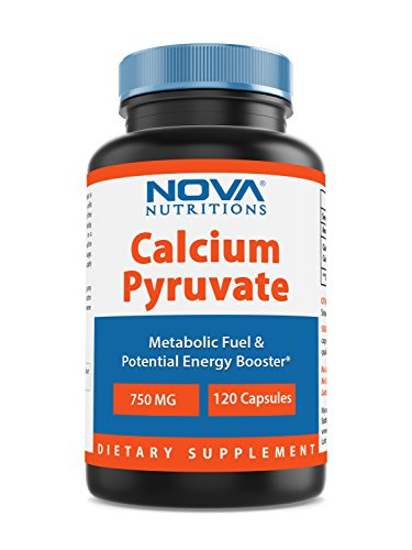 Nova Nutritions Calcium Pyruvate 750 mg (Non-GMO) Capsules for Weight Management, 120 Count