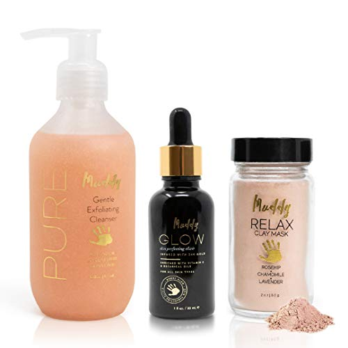 Muddy Body - Acne Scar Bundle | Relax Clay Mask - Glow Face Elixir - Pure Cleanser (1 of Each)