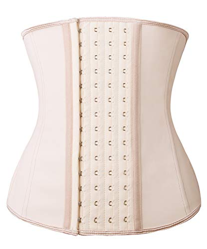 YIANNA Women Waist Trainer Corset for Weight Loss Latex Colombiana Waist Cincher Slimming Hourglass Body Shaper, Size XS (Beige)