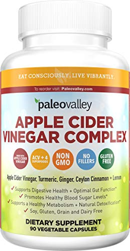 Paleovalley: Apple Cider Vinegar Complex - Digestive Support - 90 Capsules - Organic Ingredients - Help Stabilize Blood Sugar - Manage Appetite - Improve Protein Absorption