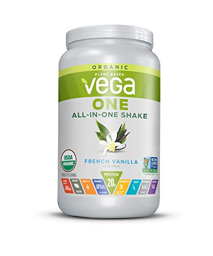Vega One Organic Meal Replacement Plant Based Protein Powder, French Vanilla - Vegan, Vegetarian, Gluten Free, Dairy Free with Vitamins, Minerals, Antioxidants and Probiotics (18 Servings, 1lb 8.3oz)