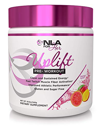 NLA for Her - Uplift - Pre-Workout Energy - Provides Clean/Sustained Energy, Supports Athletic Performance, Helps Fast Twitch Muscle Fiber Activation - Hawaiian Sunset - 220 Grams