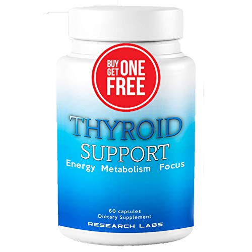 Research Labs Thyroid Support Supplement + Iodine – BUY 1 GET 1 FREE – Boosts Energy & Metabolism for Weight Loss, Enhances Mental Clarity – Cortisol Manager - Success Backed by Science & Research