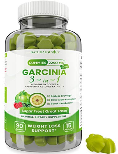 Fat Burning Gummies Pure Extract Garcinia Cambogia, Green Coffee, Raspberry Ketones - Keto Friendly, Vegan, Sugar-Free Appetite Suppressant Gummies - 3-in-1 Chewable Weight Loss Supplements 2250mg/Day