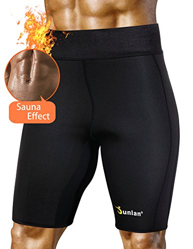 Men's Sauna Hot Sweat Thermo Shorts Body Shaper Neoprene Athletic Yoga Pants Gym Tummy Fat Slimming (Black, L)