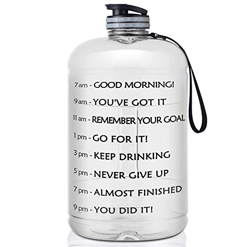 FRETREE Gallon Water Bottle Portable Water Jug - Fitness Sports Daily Water Bottle with Motivational Time Marker, Leak-Proof Gym Bottle for Outdoor Camping(1 Gallon/73 oz)