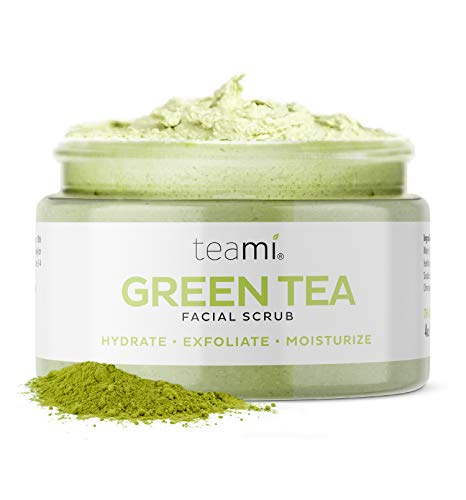 Teami Matcha Green Tea Face Scrub - Natural Face Exfoliator for All Skin Types - Organic Exfoliating Face Wash with Lemongrass - USA Made Facial Scrub for Women & Men - Non-Greasy Daily Face Exfoliant