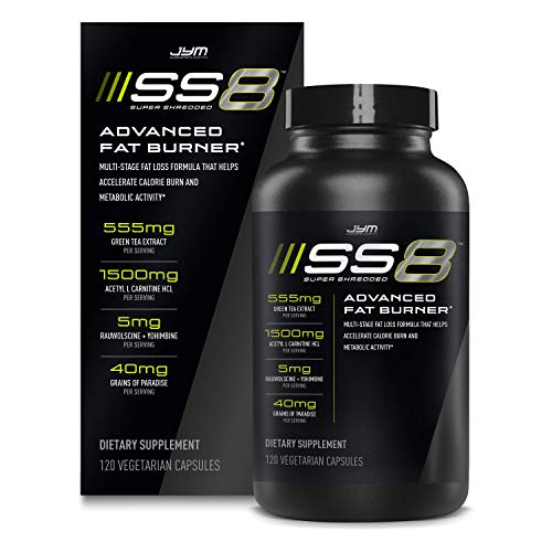Jym SS8 Super Shredded 8 | Advanced Fat Burner, Acetyl-L Carnitine, Tyrosine, Green Tea Extract, Caffeine, Capsimax, Grains of Paradise, Yohimbe, Rauwolscine | Jym Supplement Science | 120 Capsules