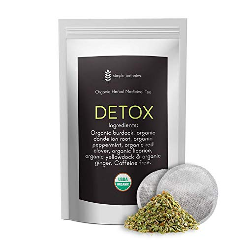 Simple Botanics Detox Tea   Caffeine Free Organic Detox Cleanse Tea   Complete Detox Drink for Natural Body Cleansing, Gentle Detox, and Promotes Weight Loss   30 Servings