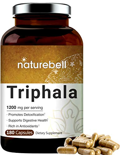 Organic Triphala Supplement (Made with Organic Amla, Bibhitaki and Haritaki Fruit Complex), 1200mg Per Serving, 180 Capsules, Powerfully Supports Digestive Health, Weight Loss and Fat Burn